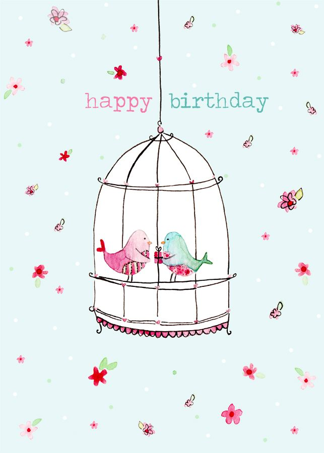 happy birthday birdcage card