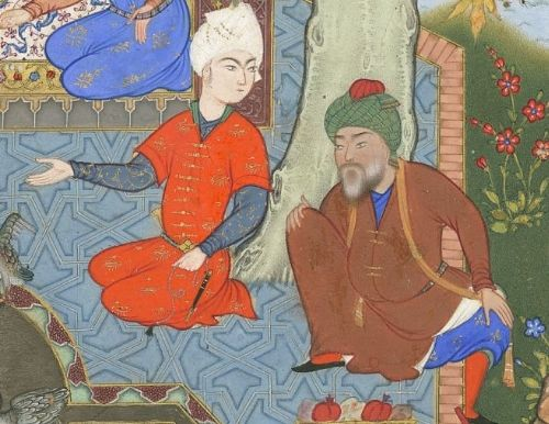 """Youth seeking his father's advice on love from the Haft Awrang of Jami, in the story """"A Father Advises his Son About Love"""""""