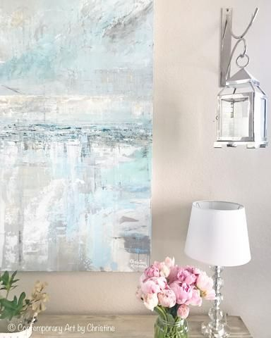 "Coastal Farmhouse living room, home decor with Pottery Barn Lantern & Pink Peonies. Art - ""Sea Breeze"" Original Abstract Painting by Contemporary Artist, Christine Krainock. Blue White Cream Fine Art Painting. Stunning, HIGHLY TEXTURED, modern, California, coastal, artwork. Contemporary, extra large, wall art, perfect for contemporary coastal style / rustic farmhouse interior design. Modern palette knife painting w/ serene ice blue, light blue, grey, sandy beige, pale gold, soft green, navy…"