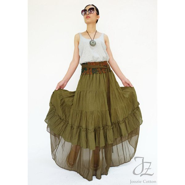No.36 Olive Teal Cotton Tiered Peasant Skirt Long Maxi Skirt ($45) ❤ liked on Polyvore featuring skirts, olive, women's clothing, brown maxi skirt, high waist long maxi skirt, floral maxi skirt, high waisted skirts and high-waisted maxi skirts