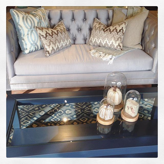 Love the Noah by @silvacustom #canadianmade and Kylie glass insert coffee table. #halenavy @moderncountry