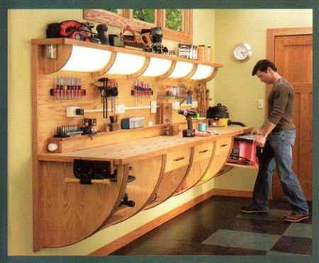 Inspiration Cool Work Bench The Garage Journal Board Adi Could Make His Work Bench With Curved Leg Support On Piano Hinges That Fold In