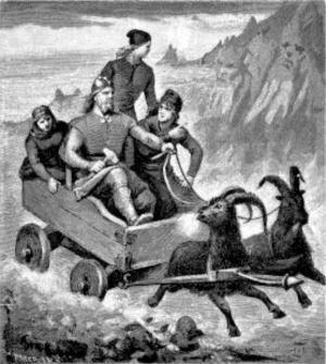 """Norrøn mytologi (Gjallarhornet) - Tor med bukkane er truleg utgangspunktet for tradisjonen """"å gå julebukk"""""""