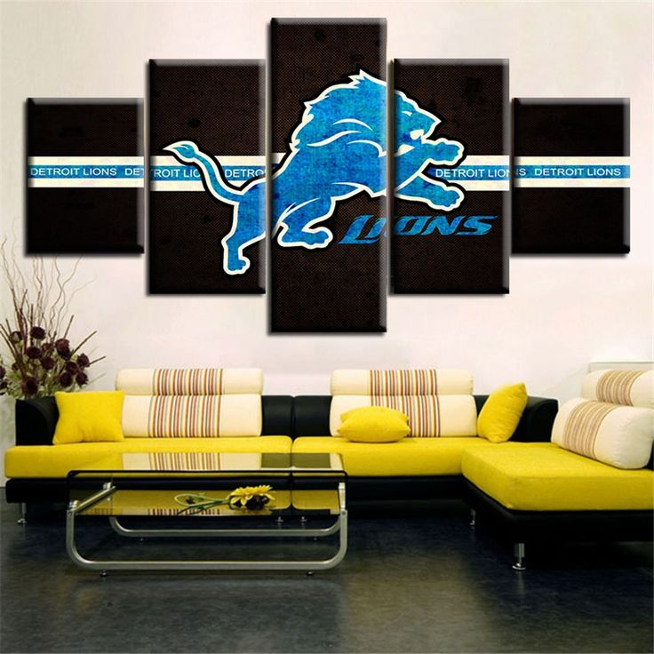 Top Sale 5pcs Canvas Painting Lion Logo Posters Modern Modular Pictures Painting On the Wall For Living Room Decoration Artwork