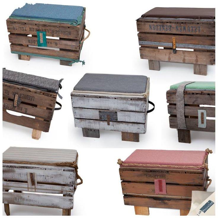 Wat je allemaal niet kan maken van die mooie houten kisten. Vroeger werden ze gebruikt voor het fruit, maar het merk Heppp heeft er deze stoere bankjes van gemaakt: http://www.iamrecycled.nl/nl/zitwaar/bankjes-kist