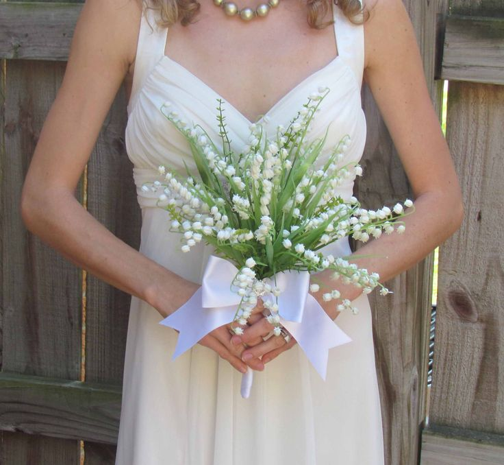 wedding bouquets - lilly valey | Lily of the Valley Wedding Bouquet Ready to Ship by justanns