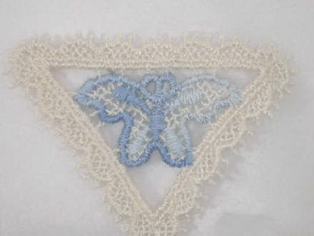 Blue Butterfly Ivory Triangle Venise Lace Applique