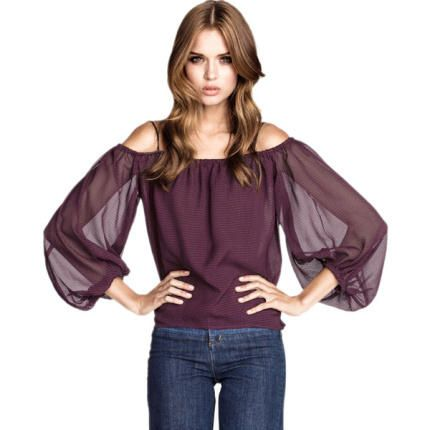 Buy Burgundy Off-the-Shoulder Chiffon Top with Spaghetti Strap Bubble Sleeves + Free Shipping