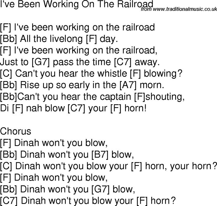 Old time song lyrics with chords for I've Been Working On The Railroad F
