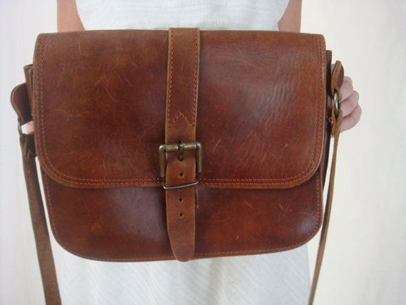 Vintage Brown Leather Purse Messenger Bag by VintageGriffin bea3c17c66ea2