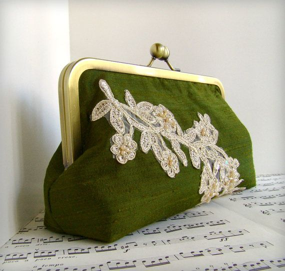 Custom silk clutch with beaded lace applique by toriska on Etsy, $55.00
