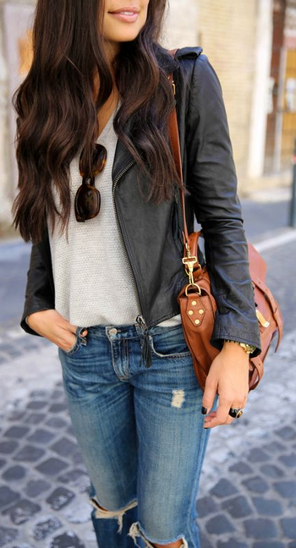 A leather jacket will look great over a simple V neck tee and distressed jeans. Via Kat Tanita. Jeans: Rag & Bone jeans, Jacket: Joie, Sweater: Vince, Heels: Stuart Weitzman.