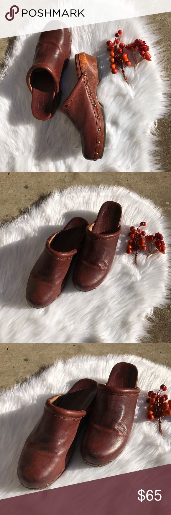 """Frye Cara Campus Brown Leather Clogs Beautiful brown leather clogs by Frye. Studded detail and slip resistant rubber soles. 2"""" heels. Cara Campus Clog style. Frye Shoes Mules & Clogs"""