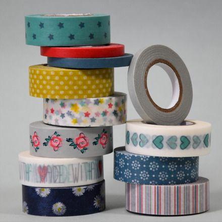 """le lot comprend 8 rouleaux de masking tape / washi paper de 12m chacun. motifs assortis """"Hiver - Noël""""  tons bleu - jaune - vert - blanc  9 rouleaux largeur 15mm 3 rouleaux la - 7626274"""