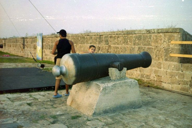 One of Napoleon Bonaparte`s army`s cannons found in digginng outside Akko walls , standing now on the walls.  photo mirjam Bruck-Cohen