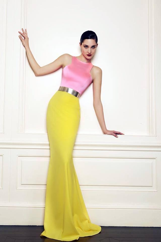 Celia Kritharioti - two-tone gown