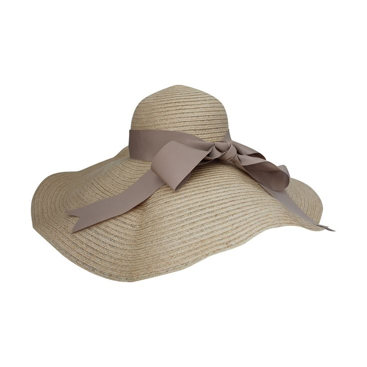 Lanvin creme light straw large brim hat w/ taupe ribbon detail | From a collection of rare vintage hats at https://www.1stdibs.com/fashion/accessories/hats/