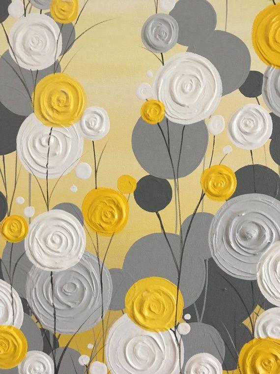 Jaune, gris et blanc texturé Art Floral  Peinture acrylique sur toile--prêt à être expédier Cet article nest pas fait pour commander... il est peint, verni et disponible en 3-5 jours ouvrables.  Dimensions : 24 x 30 Profondeur : 1.5 Couleur : Plusieurs teintes ensoleillées de jaune, un peu jaune dor et un peu de moutarde en font un jardin lumineux, joyeux et modern. Gris allant de neutre à légèrement chaude ton à coordonner avec une variété de décor. Bords : Cette toile est Galerie…