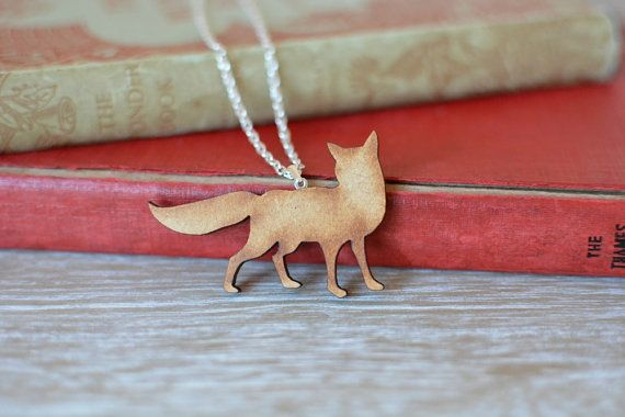 Wooden Fox Necklace. A delightful handmade fox necklace, with silver plated chain and findings.   https://www.etsy.com/uk/listing/227566344/wooden-fox-necklace-woodland-animal?ref=shop_home_active_1