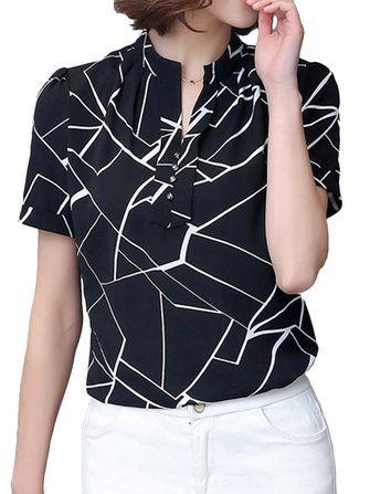 Κομψό Οι γυναίκες Γεωμετρική Έντυπα Πλισέ Slim εργασίας Κόμμα Μπλούζα