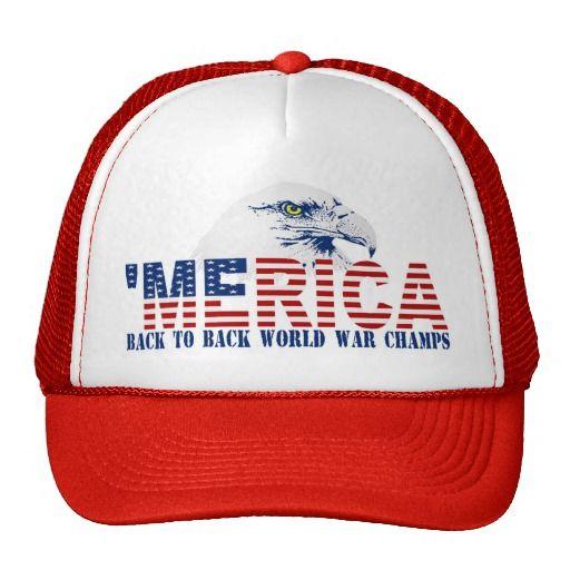 'MERICA Back To Back World War Champs Eagle Hat