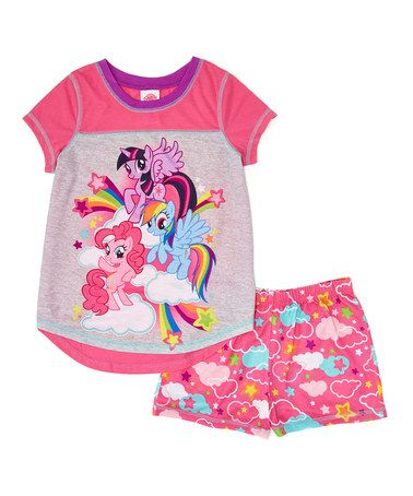 Another great find on #zulily! Gray & Pink My Little Pony Pajama Set - Girls #zulilyfinds