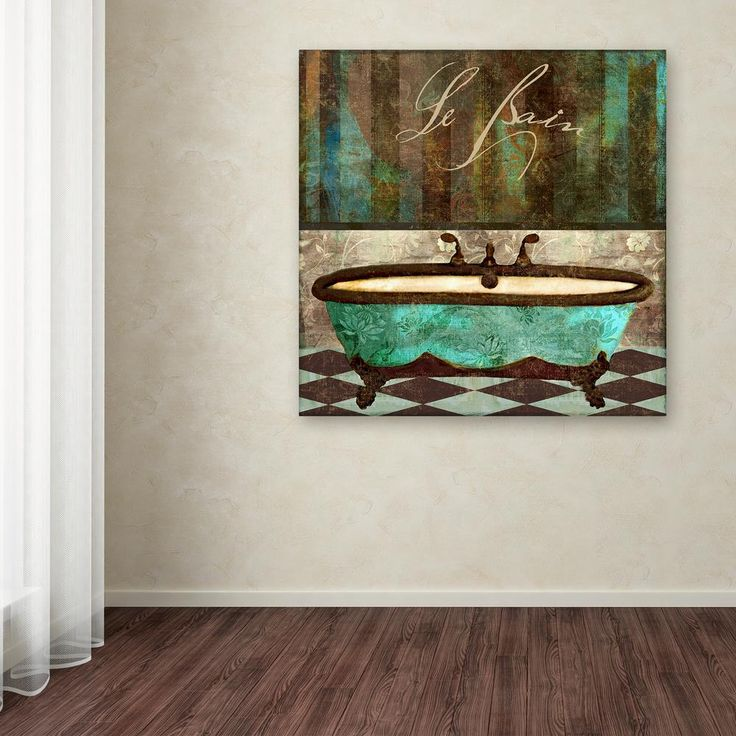 "14 in. x 14 in. ""Le Bain Aqua"" by Color Bakery Printed Canvas Wall Art"