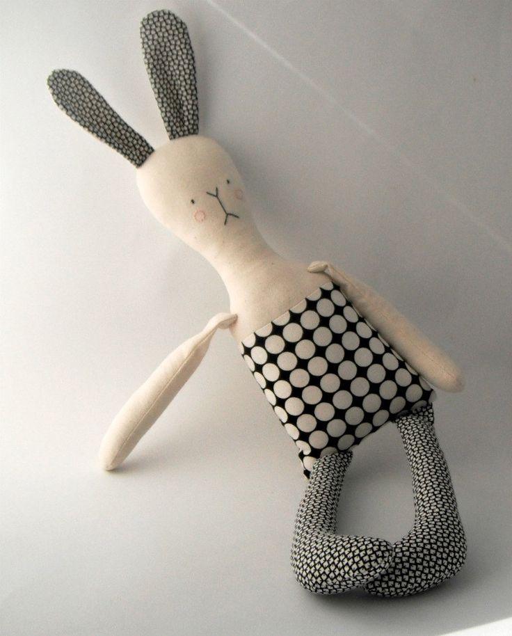 rag doll toy modern rabbit fabric bunny plushie boy by rosieok, $60.00