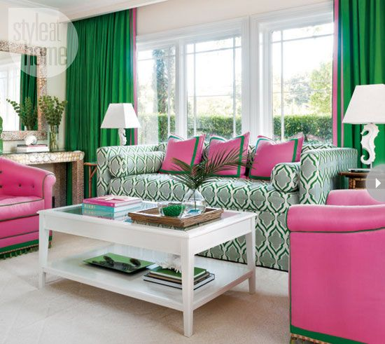 """The 750-square foot comfy cottage was featured last year in Design at Home (h/t: The Glam Pad), which characterizes the decor as """"slipping into a Lilly Pulitzer dress."""""""