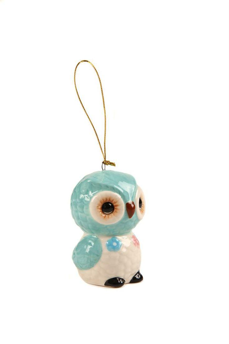 Typo Ceramic Ornament - Blue Owl