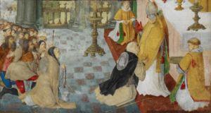 A rainha deposita a sua coroa aos pés do Arcebispo de Santiago de Compostela. Isabel de Aragão, Rainha de Portugal – Wikipédia, a enciclopédia livre