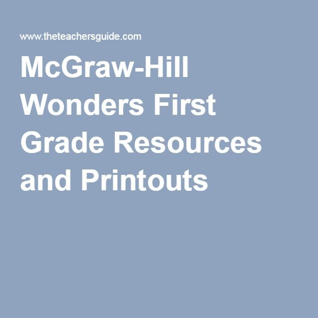 McGraw-Hill Wonders First Grade Resources and Printouts