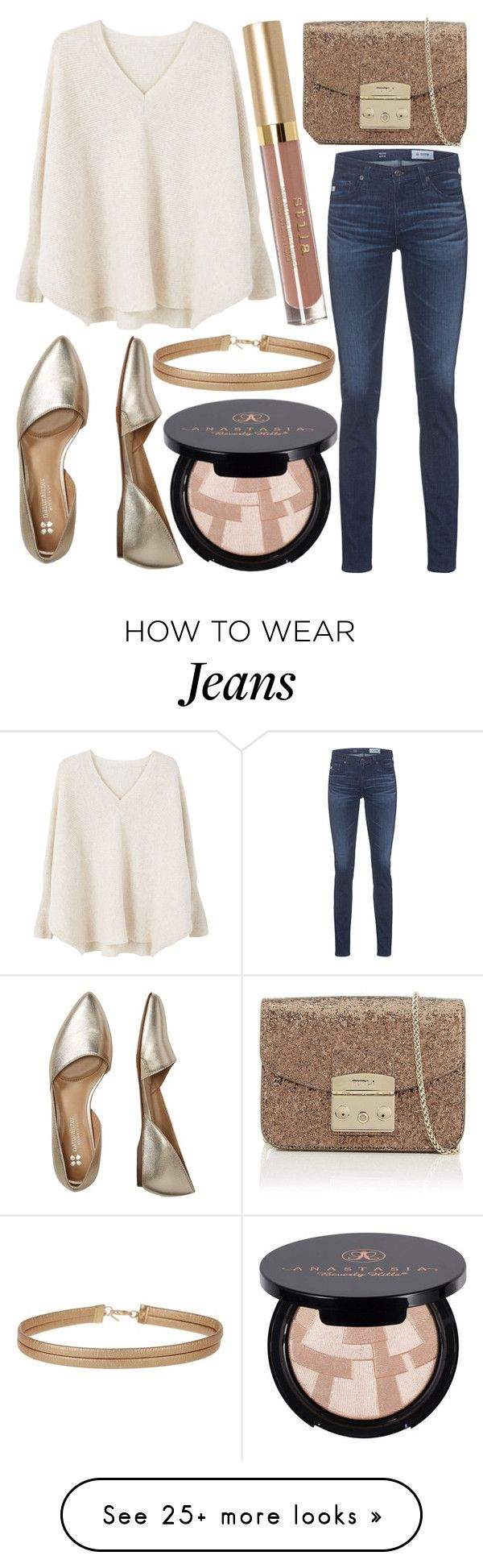"""Untitled #701"" by daimy-style on Polyvore featuring MANGO, AG Adriano Goldschmied, Bzees, Furla, Miss Selfridge and Anastasia Beverly Hills"