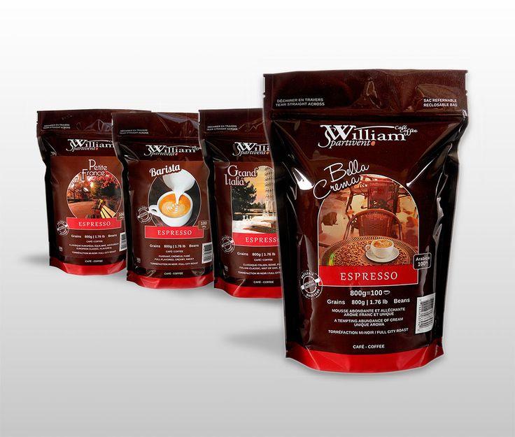 William Spartivento : En 2013, la marque de café William Spartivento se développe une gamme de quatre produits «espresso».  Sa mise en marché vise notamment le détail, principalement à Montréal.  La direction artistique adopte le rouge pour se distinguer complètement de sa gamme régulière et suggère une imagerie différentes pour les 4 variétés.