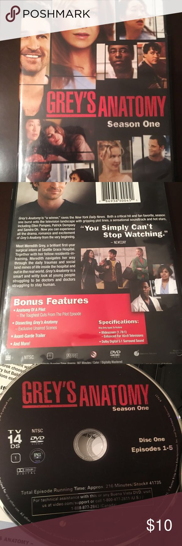 Grey's Anatomy season 1 Complete UNCUT First Season of Grey's Anatomy   9 episodes. Perfect condition. Grey's Anatomy Other
