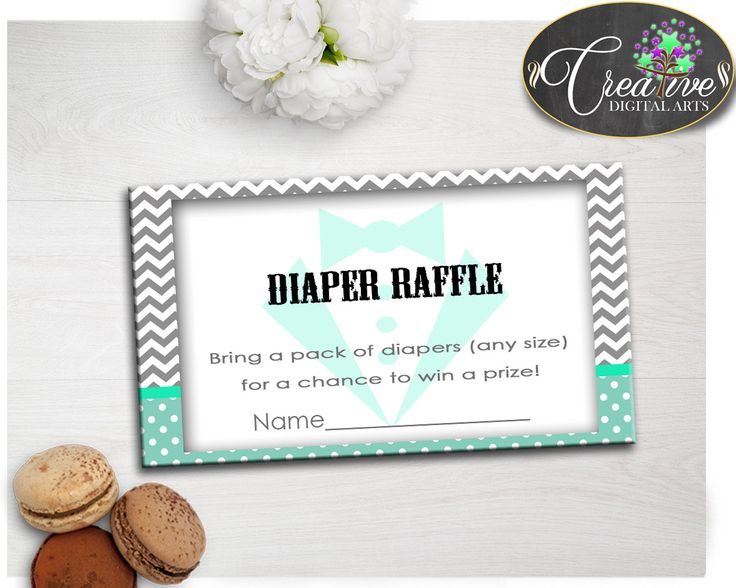 Mint And Grey Shower Gentlemen Insert Card Shower Inspirations DIAPER RAFFLE, Printable Files, Party Plan, Party Décor - lm001 #babyshowergames #babyshower