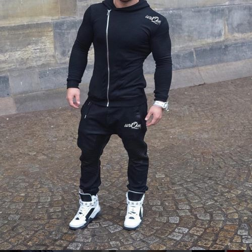 Mens Full Fleece Tracksuit Hooded Jogging Bottms Joggers pant Hoody