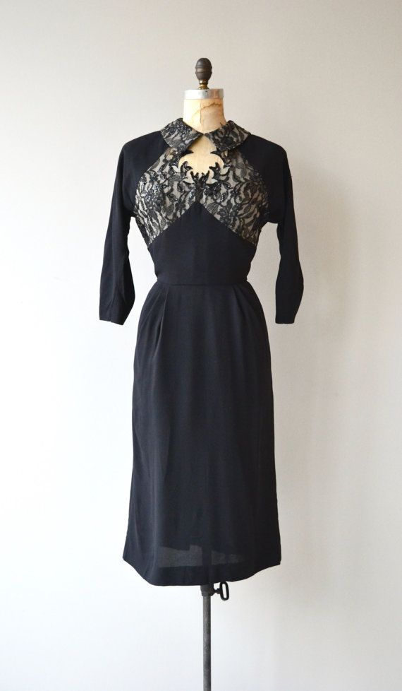 Vintage 1950s black rayon cocktail dress with illusion lace bodice, small collar, 3/4 sleeves, fitted waist and metal zipper. --- M E A S U R E M E N T S --- fits like: medium bust: 40 waist: 30 hip: 43 length: 46 brand/maker: n/a condition: excellent ✩ layaway is available for this item To ensure a good fit, please read the sizing guide: http://www.etsy.com/shop/DearGolden/policy ✩ more vintage dresses ✩ http://www.etsy.com/shop&#x2F...