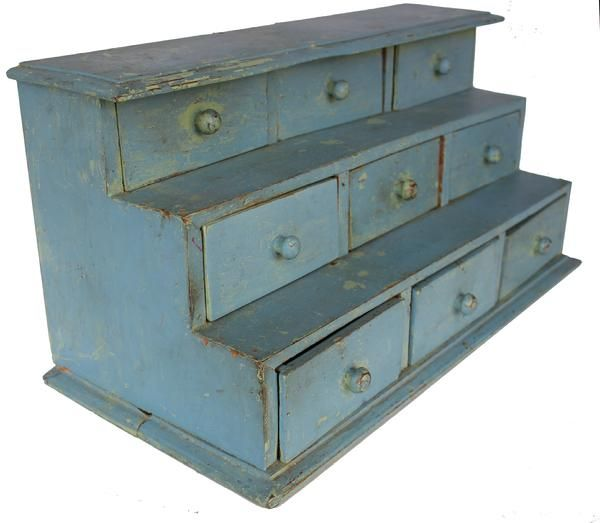 Late Century New England Nine Drawer Step Apothecary In Old Blue Paint,  Wide 11 Deep Tall