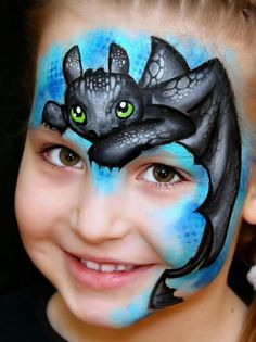 Toothless dragon face paint