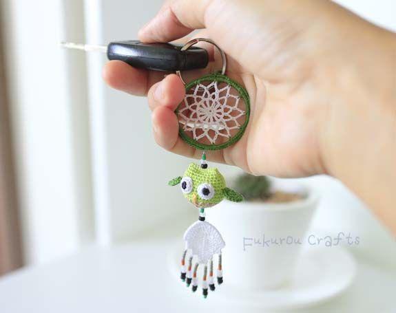fukuroucrafts: Crochet Lucky charms, lucky doll, green owl doll,l...