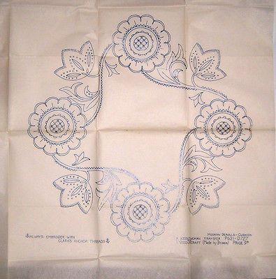 Vintage embroidery transfer - LARGE cushion panel - Jacobean flower scrolls