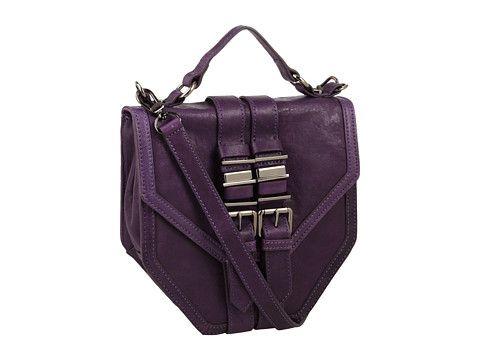 Unique purple handbag, I love the shape.
