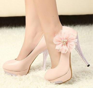 Light pink flower Heels  High Heels  Pinterest  Pink flowers