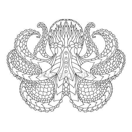 Downloaden - Octopus. Etnische patronen vectorillustratie. Afrika, Indische, totem, tribal, zentangle ontwerp — Stockillustratie #88441102