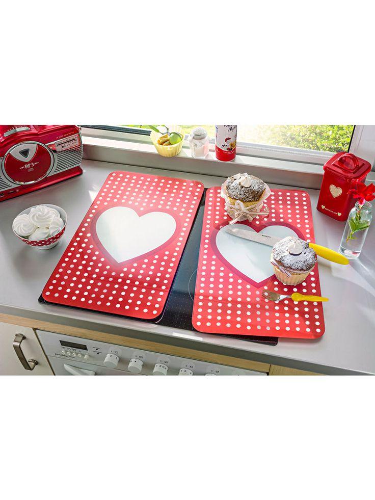 Plaques de protection cuisine rouges et blanches Plaque de protection pour la cuisine, motif coeur — chez helline.fr