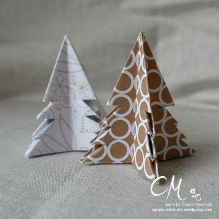 Caros Bastelbude: Adventskalender Türchen Nr. 9, Origami-Tannenbaum, Tutorial
