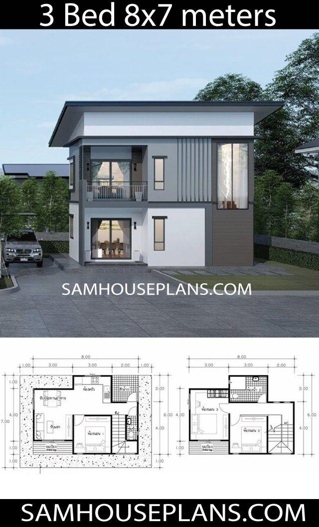 House Plans Idea 8x7 With 3 Bedrooms Sam House Plans House Plans Duplex House Design Architecture House