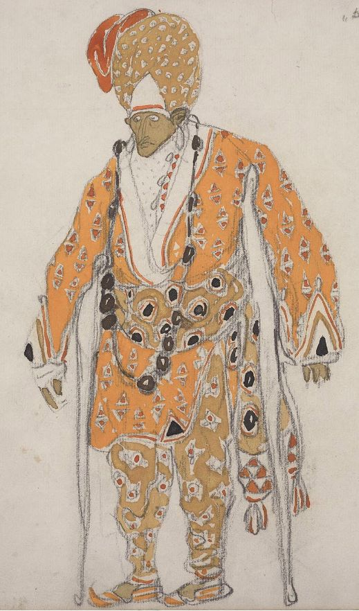 "Costume design by Léon Bakst (1866-1924), 1911, A Beggar for ""Dieu Bleu"", opaque and transparent watercolor with graphite pencil."
