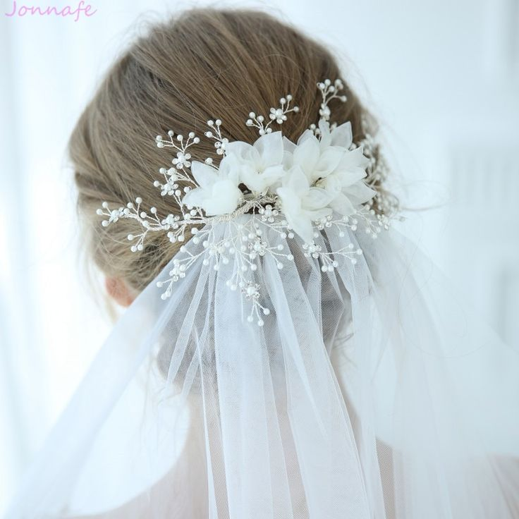 Jonnafe 2019 Gorgeous Tulle Floral Bridal Headpiece Pearls Hair Jewelry Silver C…